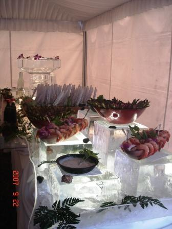 Food Display with Ice Blocks